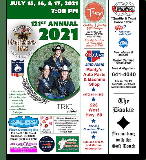 2021 Cattlemen's Days Ticket with Sponsors